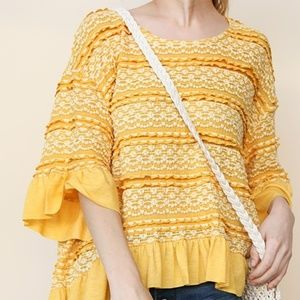 ON SALE!! NWT Umgee Crochet Ruffle Top, S